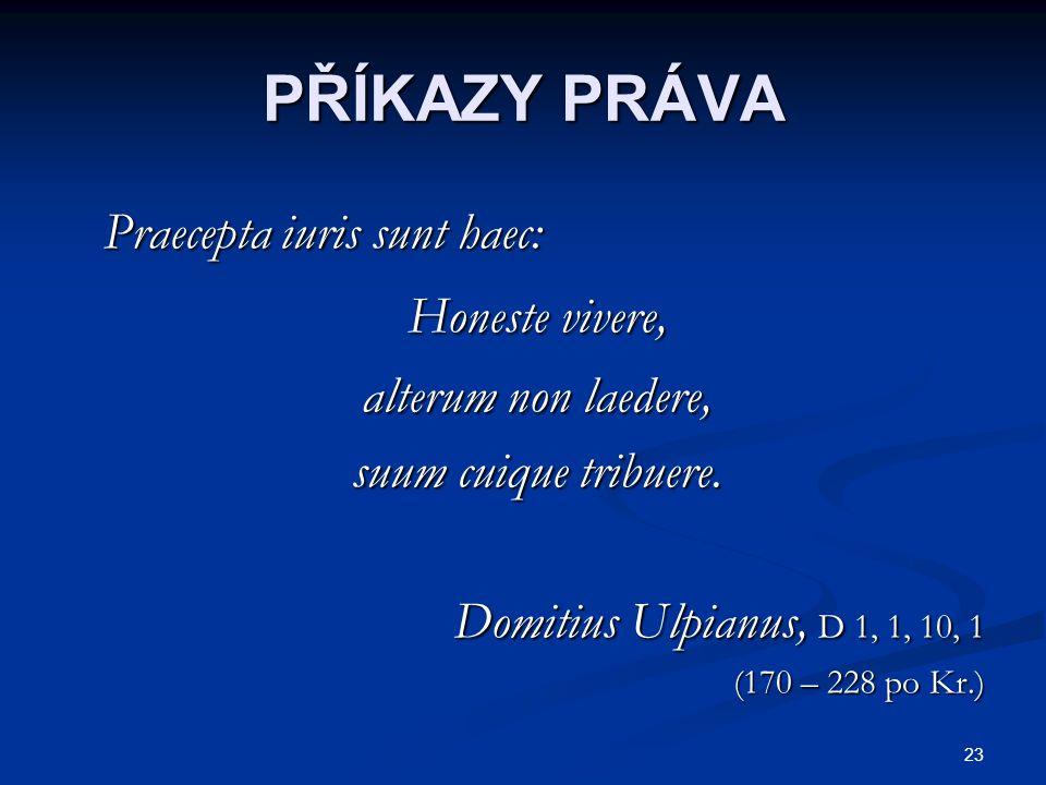 PŘÍKAZY PRÁVA Praecepta iuris sunt haec: Honeste vivere,