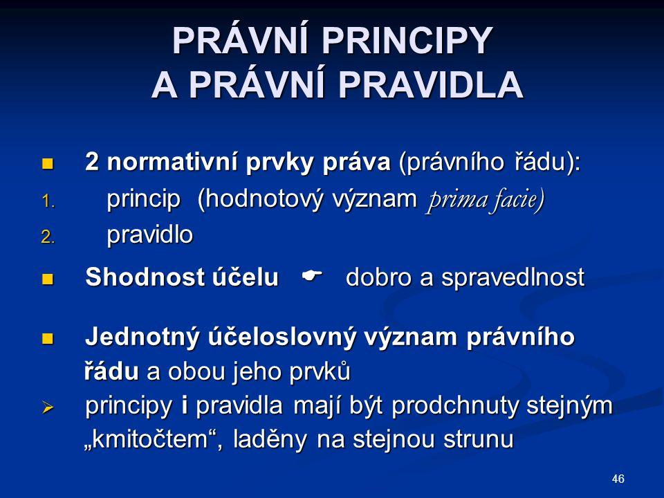 PRÁVNÍ PRINCIPY A PRÁVNÍ PRAVIDLA