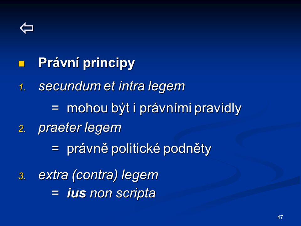  Právní principy secundum et intra legem