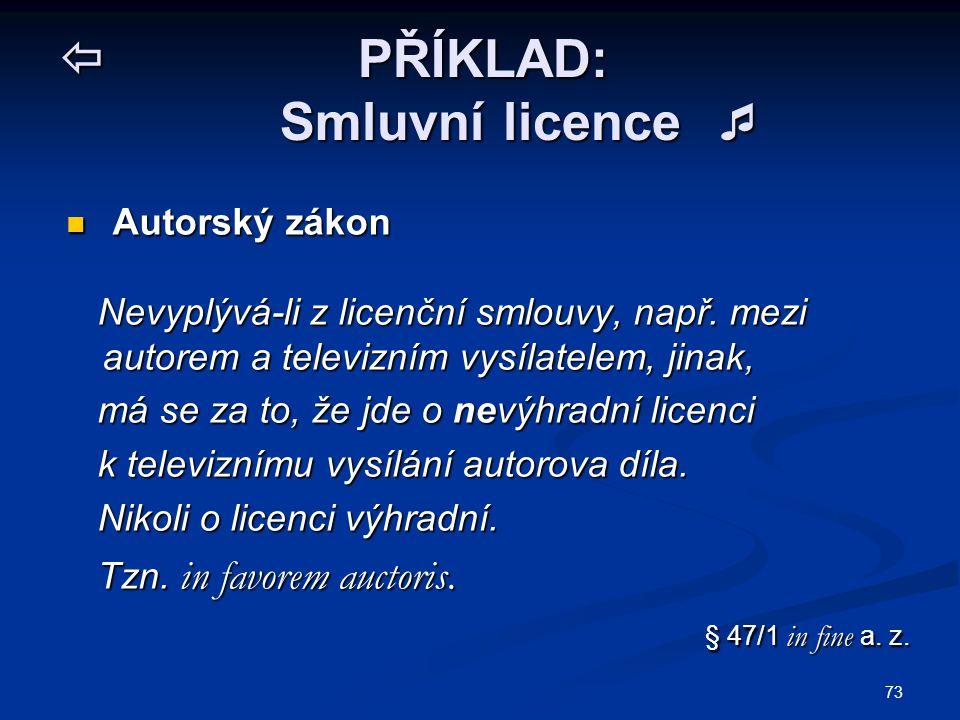  PŘÍKLAD: Smluvní licence 