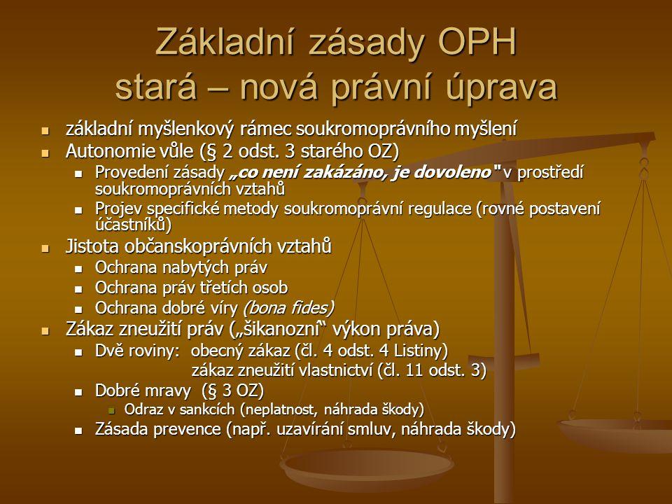 Základní zásady OPH stará – nová právní úprava