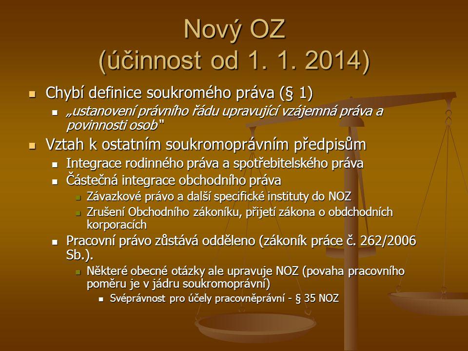Nový OZ (účinnost od 1. 1. 2014) Chybí definice soukromého práva (§ 1)
