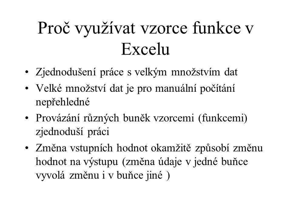 Proč využívat vzorce funkce v Excelu