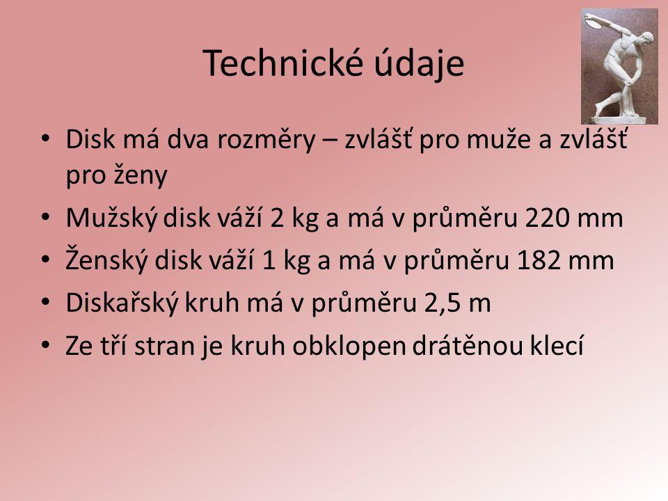 Technické údaje Disk má dva rozměry – zvlášť pro muže a zvlášť pro ženy. Mužský disk váží 2 kg a má v průměru 220 mm.