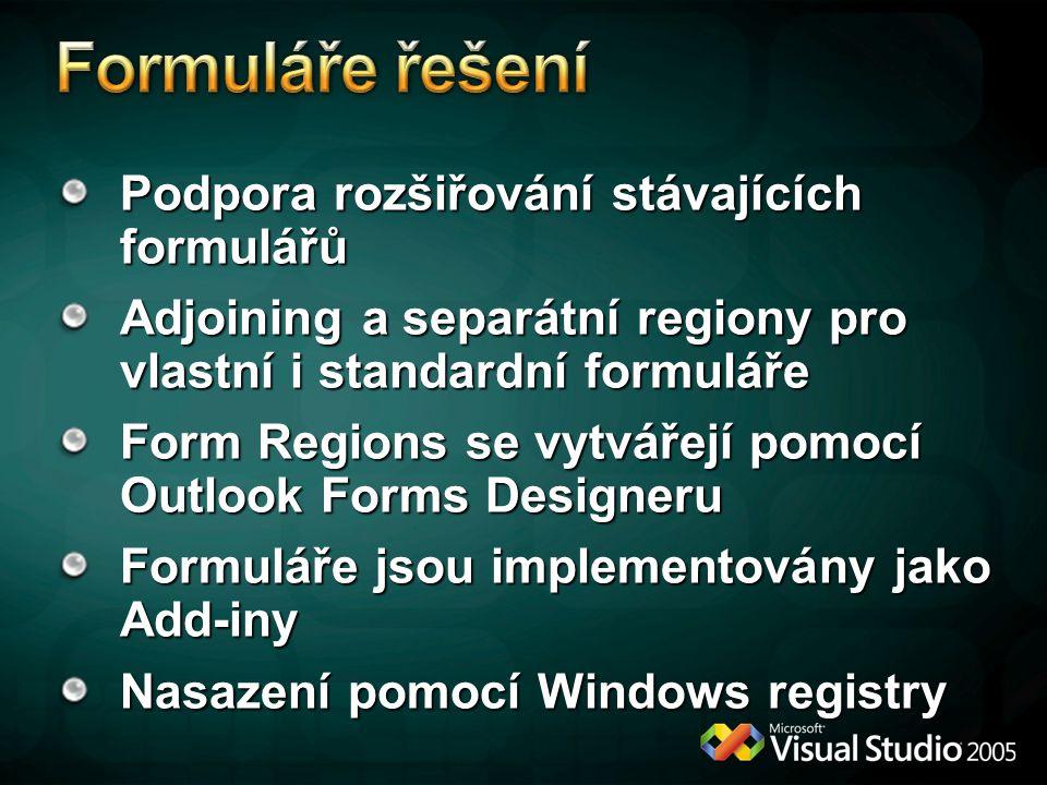 Formuláře řešení Podpora rozšiřování stávajících formulářů