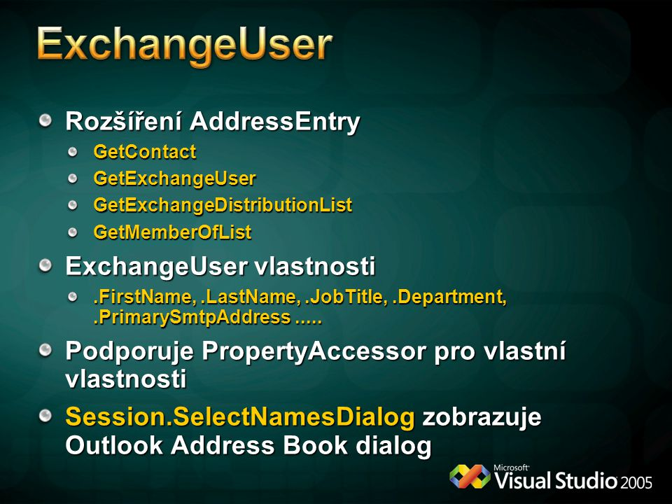 ExchangeUser Rozšíření AddressEntry ExchangeUser vlastnosti