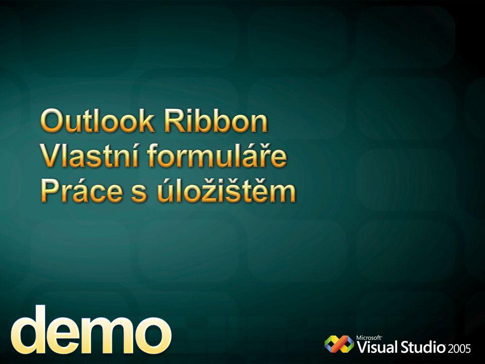 Outlook Ribbon Vlastní formuláře Práce s úložištěm