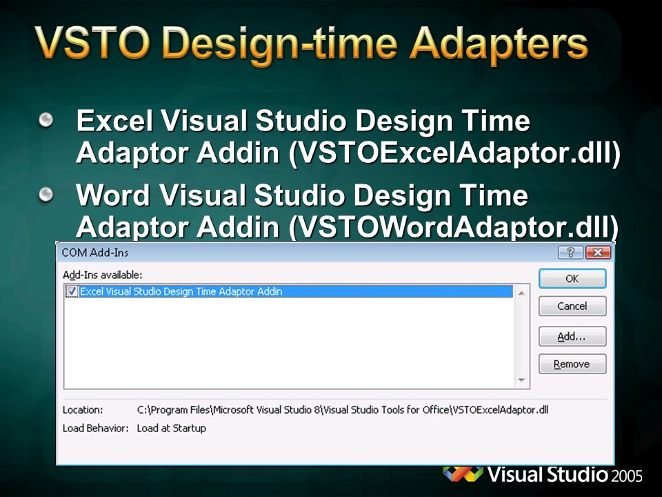 VSTO Design-time Adapters