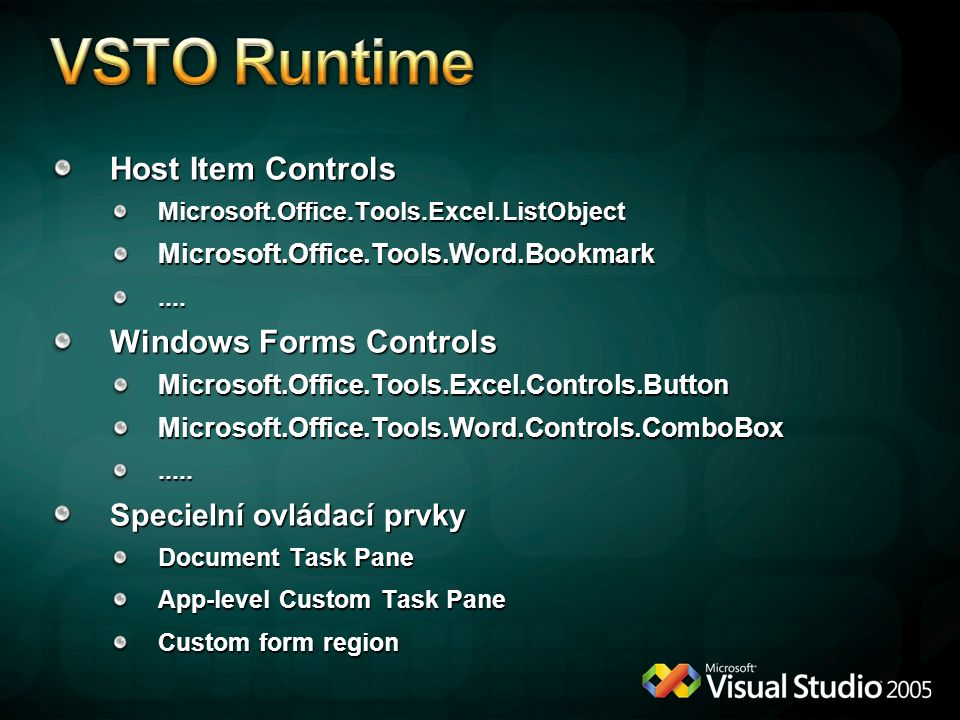 VSTO Runtime Host Item Controls Windows Forms Controls