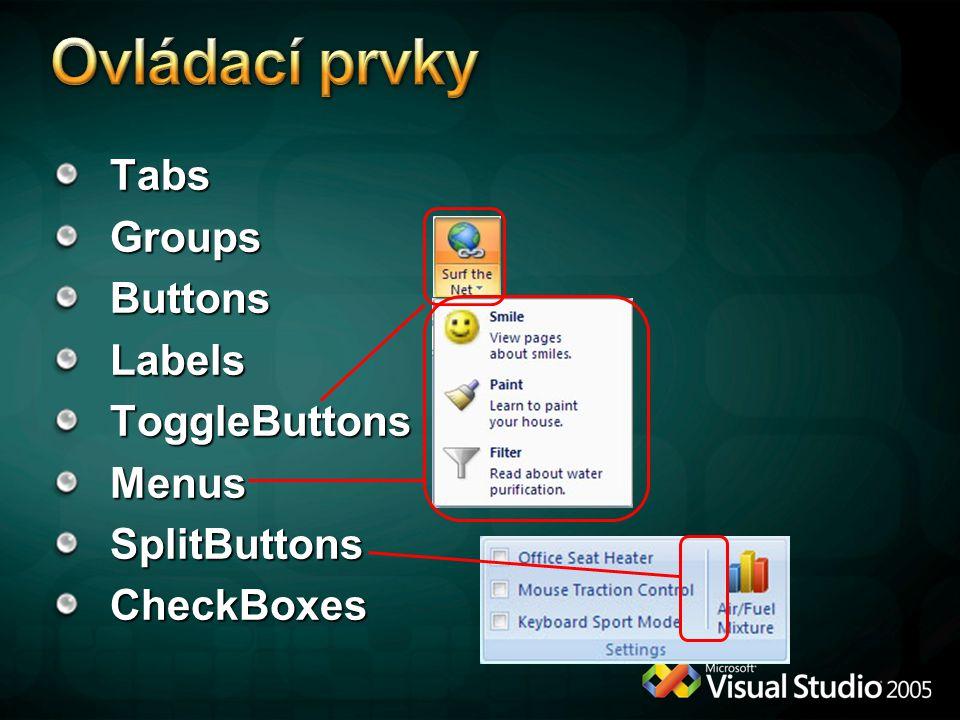 Ovládací prvky Tabs Groups Buttons Labels ToggleButtons Menus