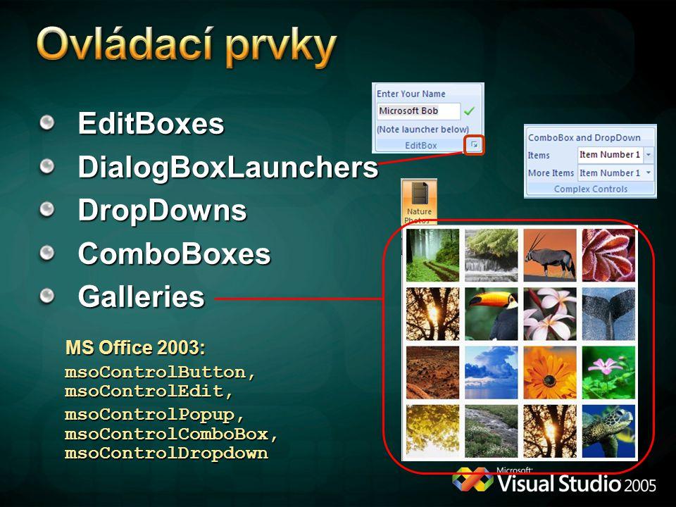 Ovládací prvky EditBoxes DialogBoxLaunchers DropDowns ComboBoxes