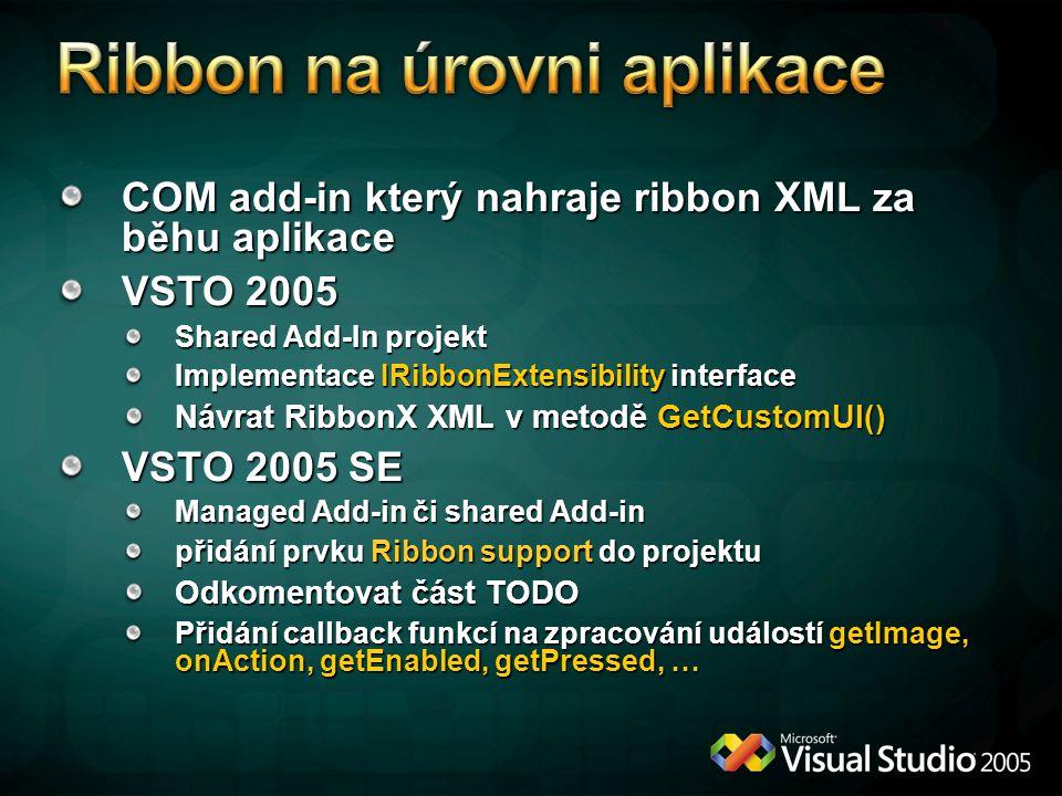 Ribbon na úrovni aplikace