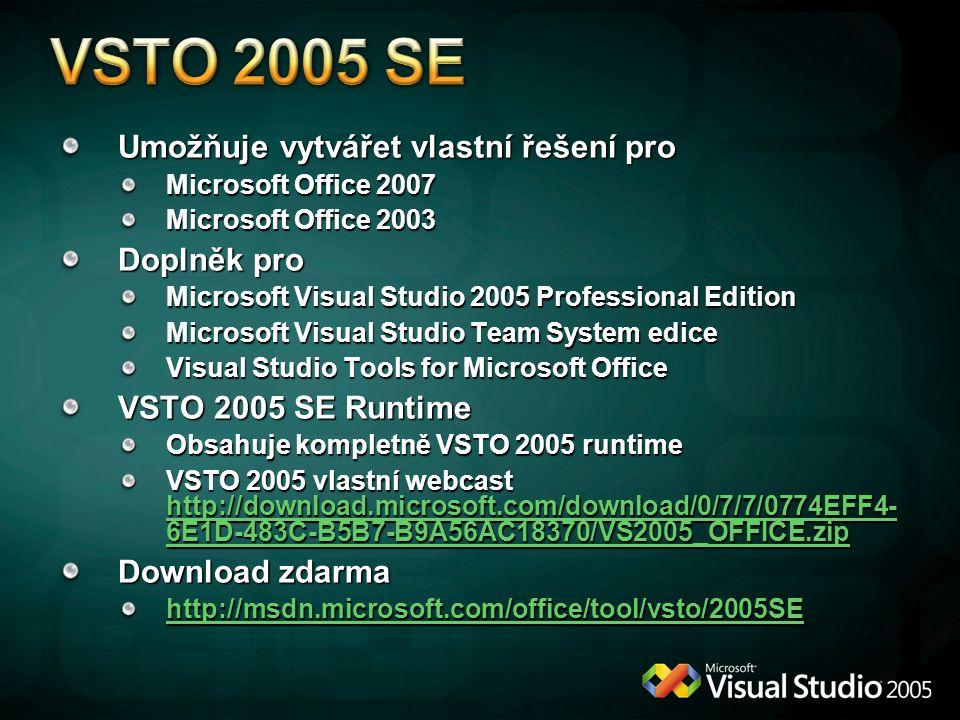 VSTO 2005 SE Umožňuje vytvářet vlastní řešení pro Doplněk pro