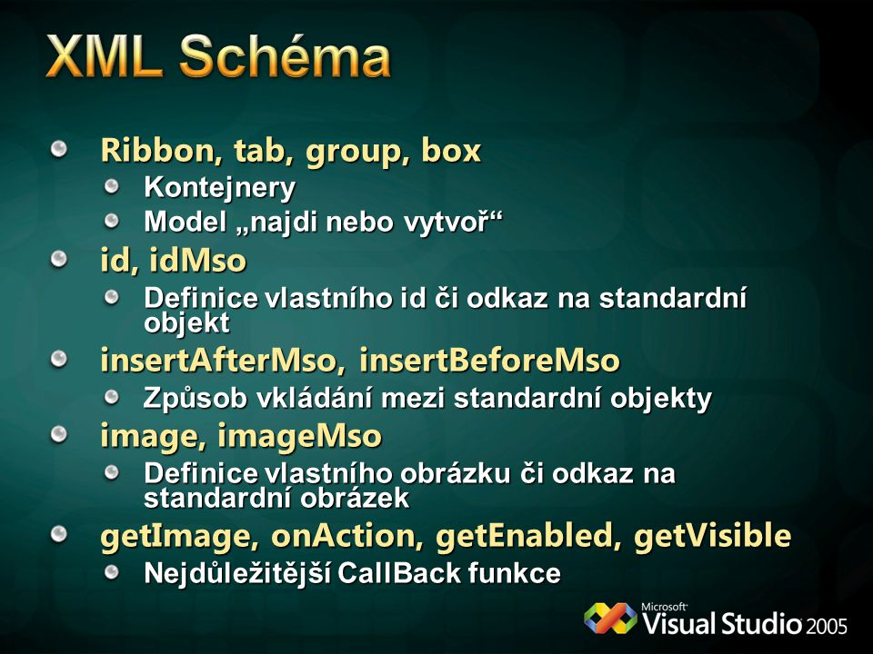 XML Schéma Ribbon, tab, group, box id, idMso