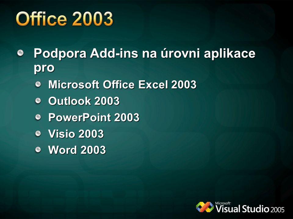 Office 2003 Podpora Add-ins na úrovni aplikace pro