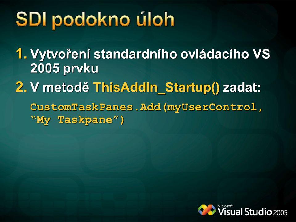 SDI podokno úloh Vytvoření standardního ovládacího VS 2005 prvku