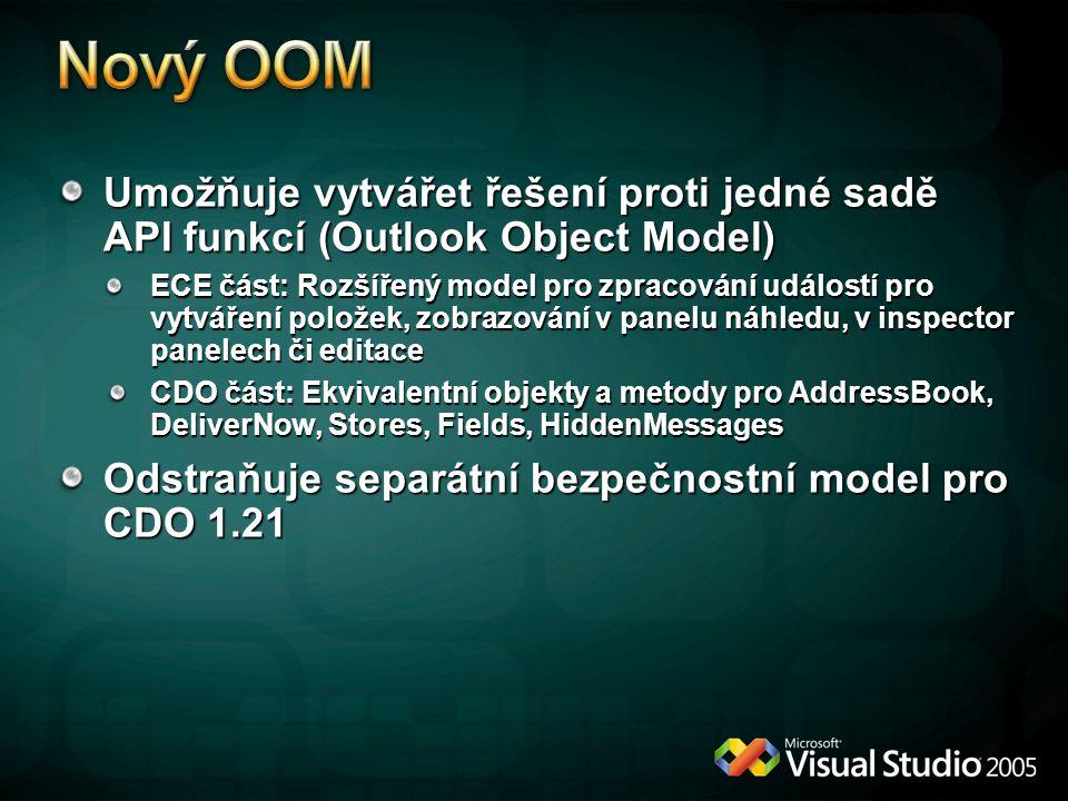 * 4/12/2017 6:11 PM. Nový OOM. Umožňuje vytvářet řešení proti jedné sadě API funkcí (Outlook Object Model)