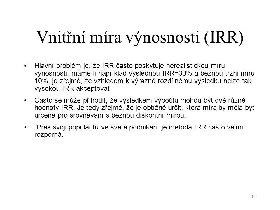 Vnitřní míra výnosnosti (IRR)