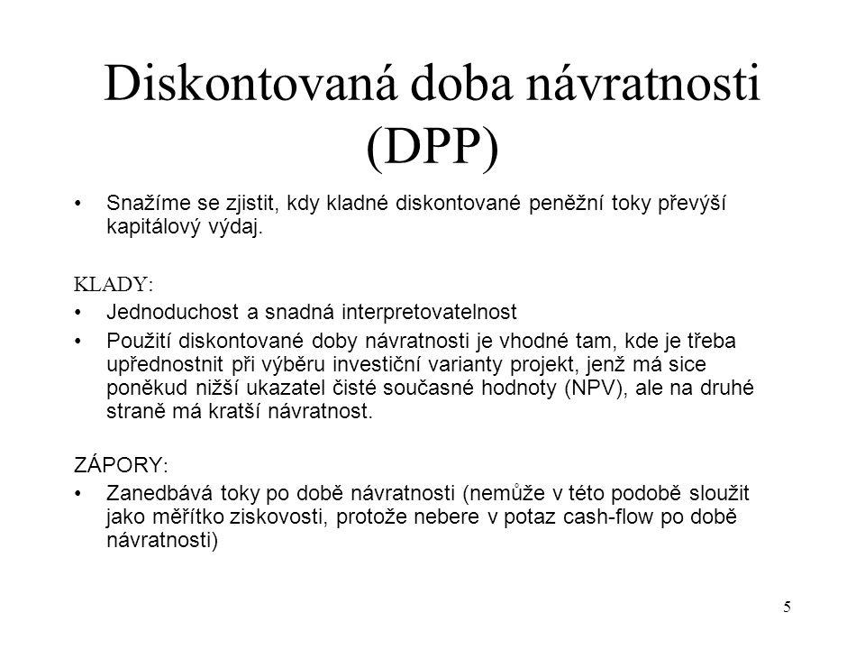 Diskontovaná doba návratnosti (DPP)