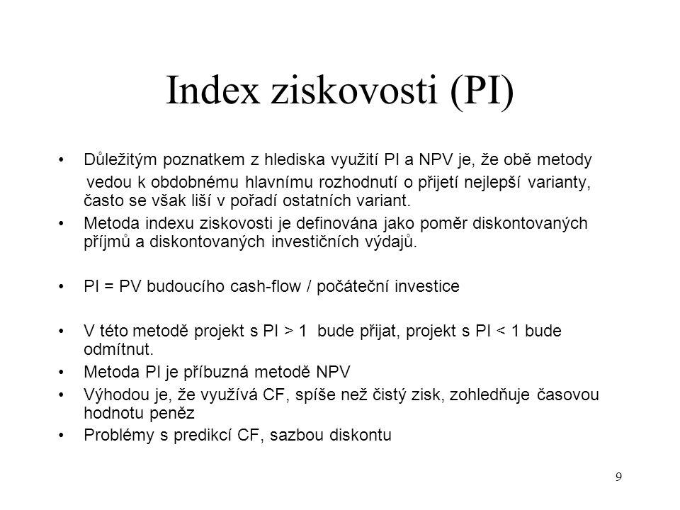 Index ziskovosti (PI) Důležitým poznatkem z hlediska využití PI a NPV je, že obě metody.