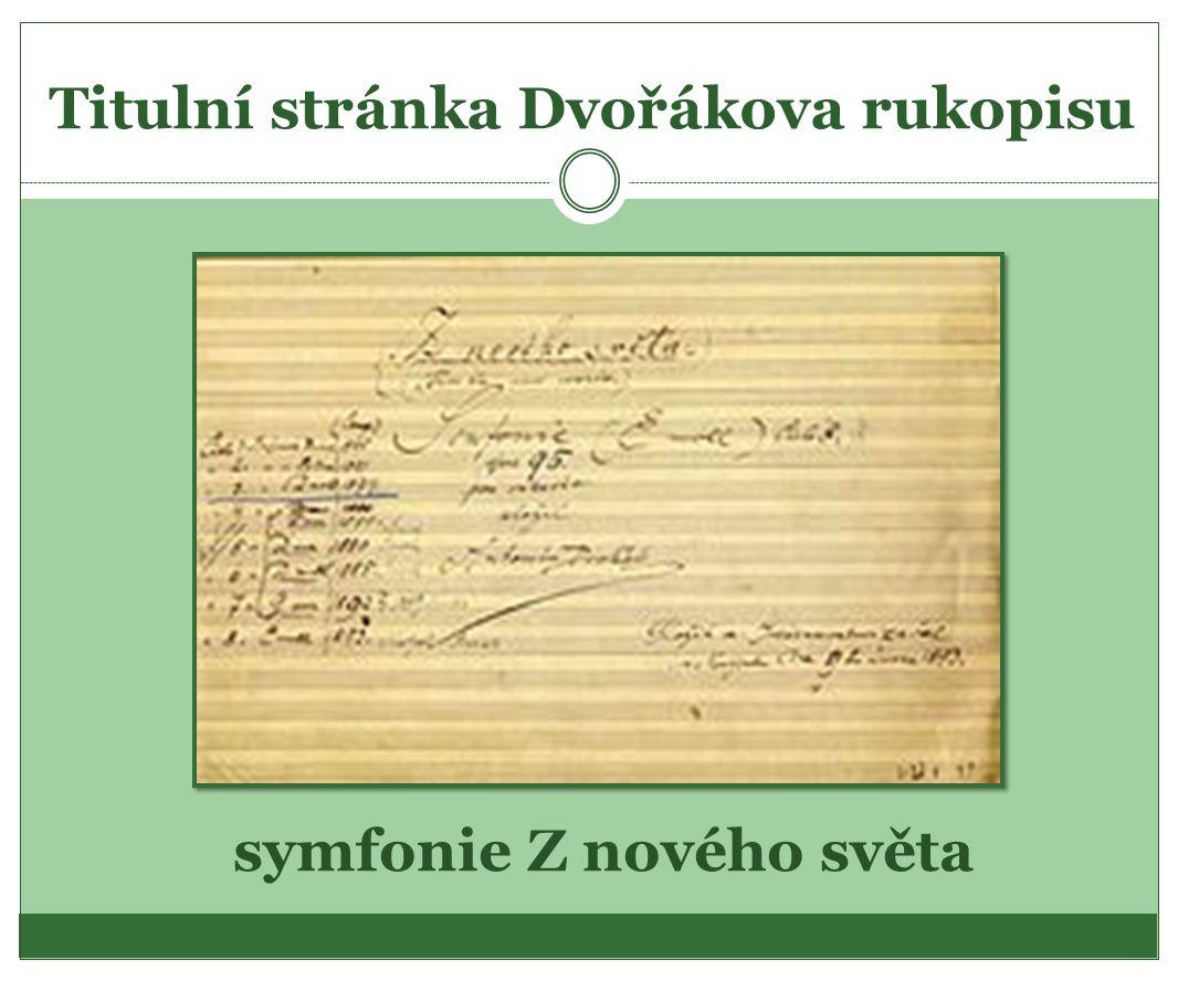 Titulní stránka Dvořákova rukopisu