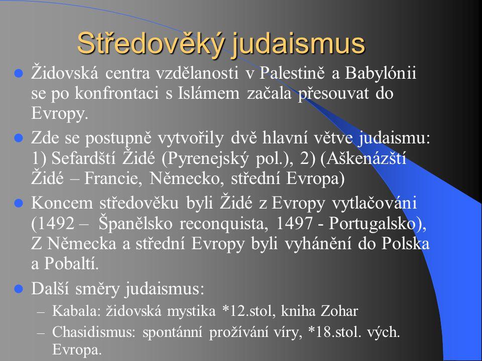 Středověký judaismus Židovská centra vzdělanosti v Palestině a Babylónii se po konfrontaci s Islámem začala přesouvat do Evropy.