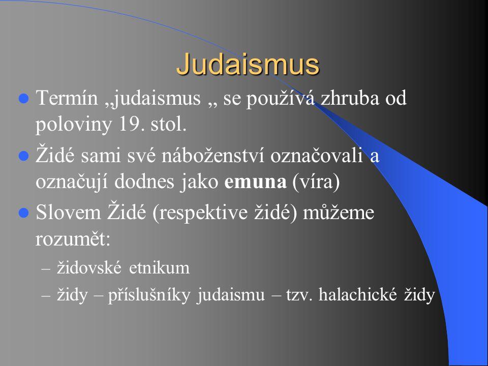 """Judaismus Termín """"judaismus """" se používá zhruba od poloviny 19. stol."""