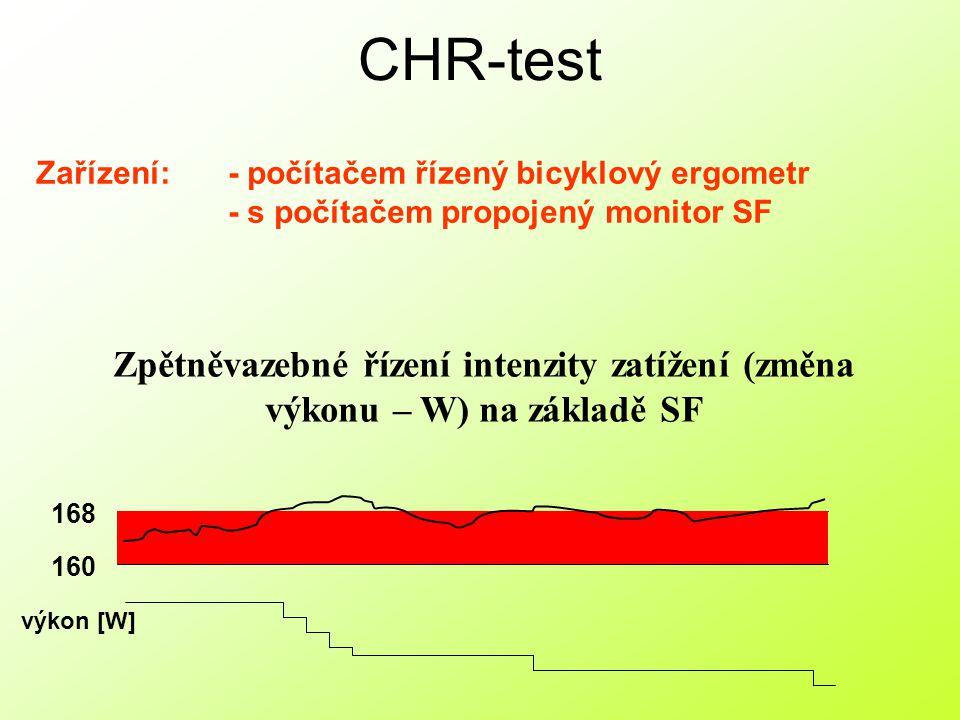 CHR-test Zařízení: - počítačem řízený bicyklový ergometr. - s počítačem propojený monitor SF.