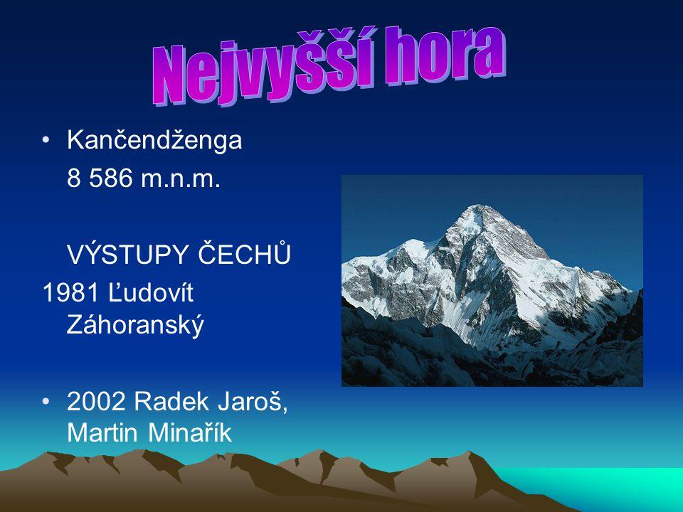 Nejvyšší hora Kančendženga 8 586 m.n.m. VÝSTUPY ČECHŮ