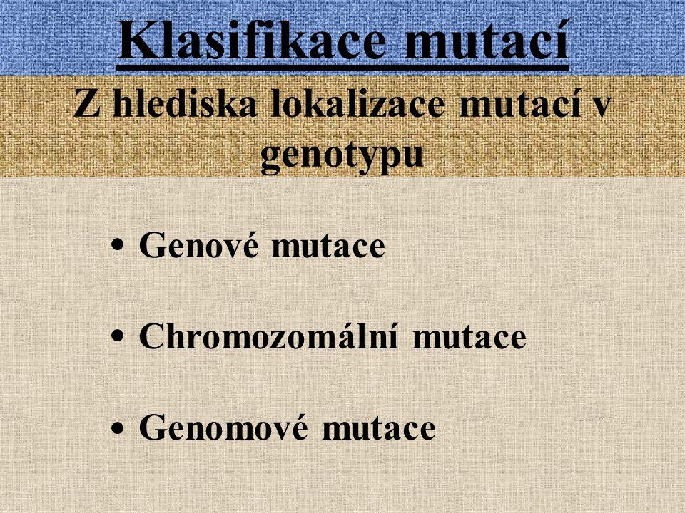 Z hlediska lokalizace mutací v genotypu