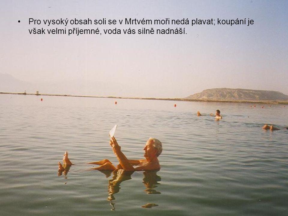 Pro vysoký obsah soli se v Mrtvém moři nedá plavat; koupání je však velmi příjemné, voda vás silně nadnáší.