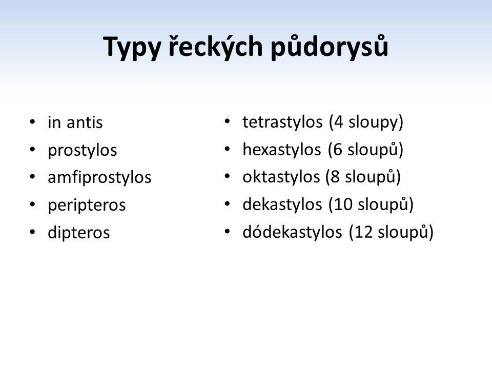 Typy řeckých půdorysů in antis prostylos amfiprostylos peripteros