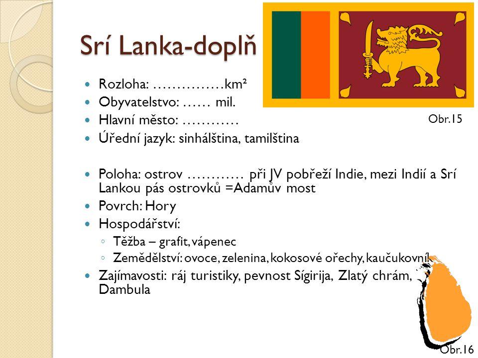 Srí Lanka-doplň Rozloha: ……………km² Obyvatelstvo: …… mil.