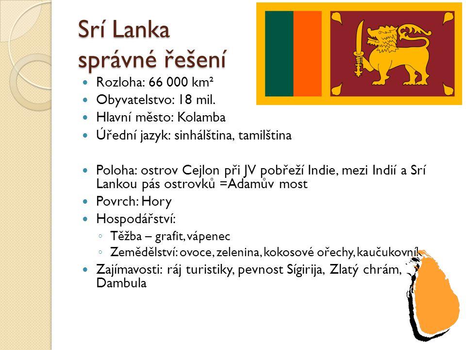 Srí Lanka správné řešení