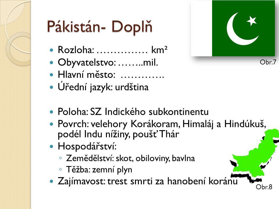 Pákistán- Doplň Rozloha: …………… km² Obyvatelstvo: ……..mil.