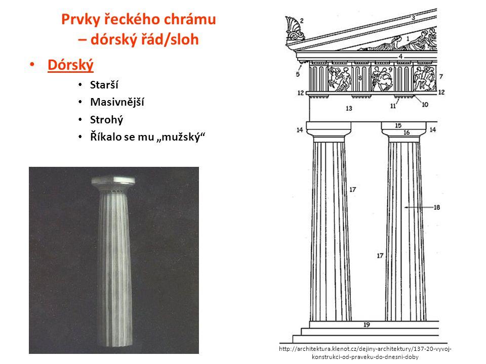 Prvky řeckého chrámu – dórský řád/sloh