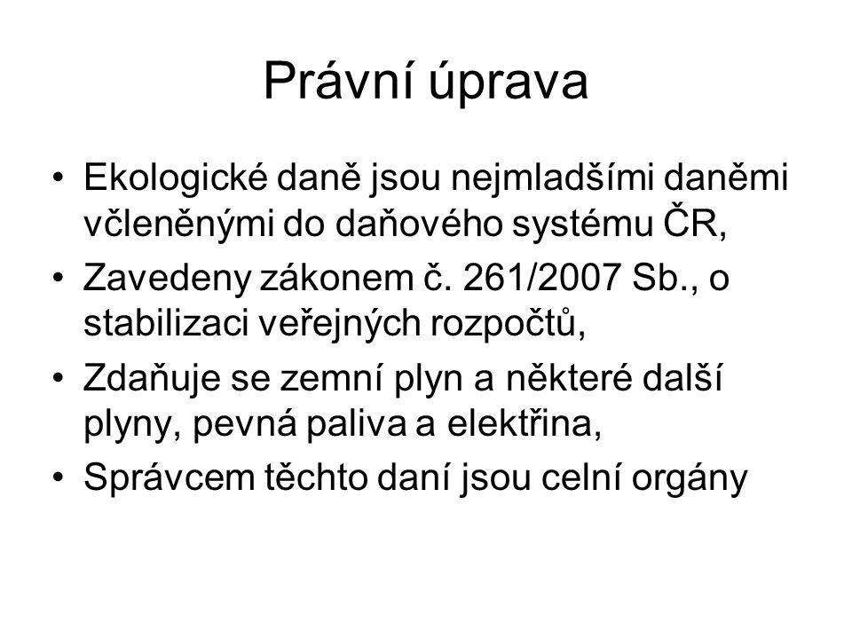 Právní úprava Ekologické daně jsou nejmladšími daněmi včleněnými do daňového systému ČR,