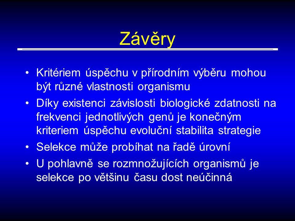 Závěry Kritériem úspěchu v přírodním výběru mohou být různé vlastnosti organismu.