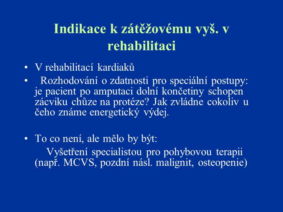 Indikace k zátěžovému vyš. v rehabilitaci