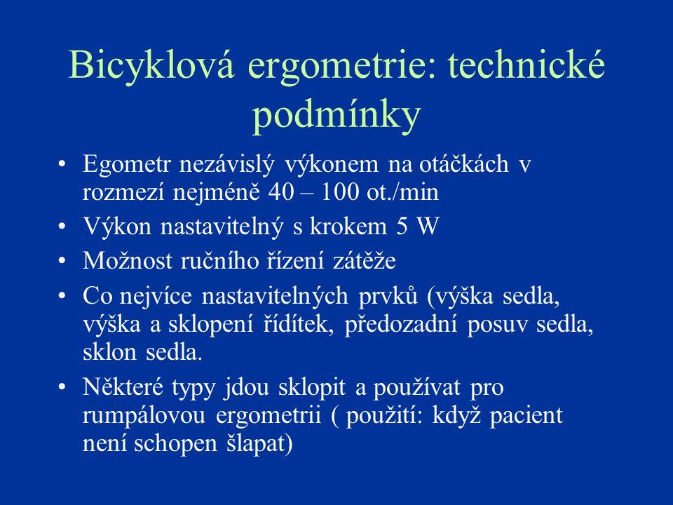 Bicyklová ergometrie: technické podmínky