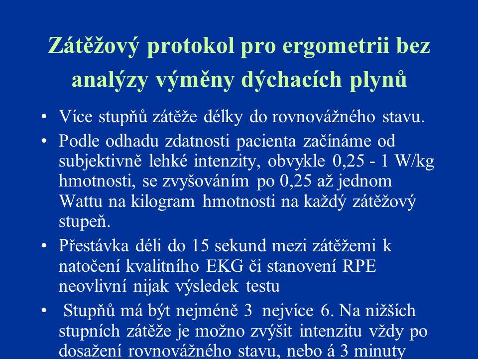 Zátěžový protokol pro ergometrii bez analýzy výměny dýchacích plynů