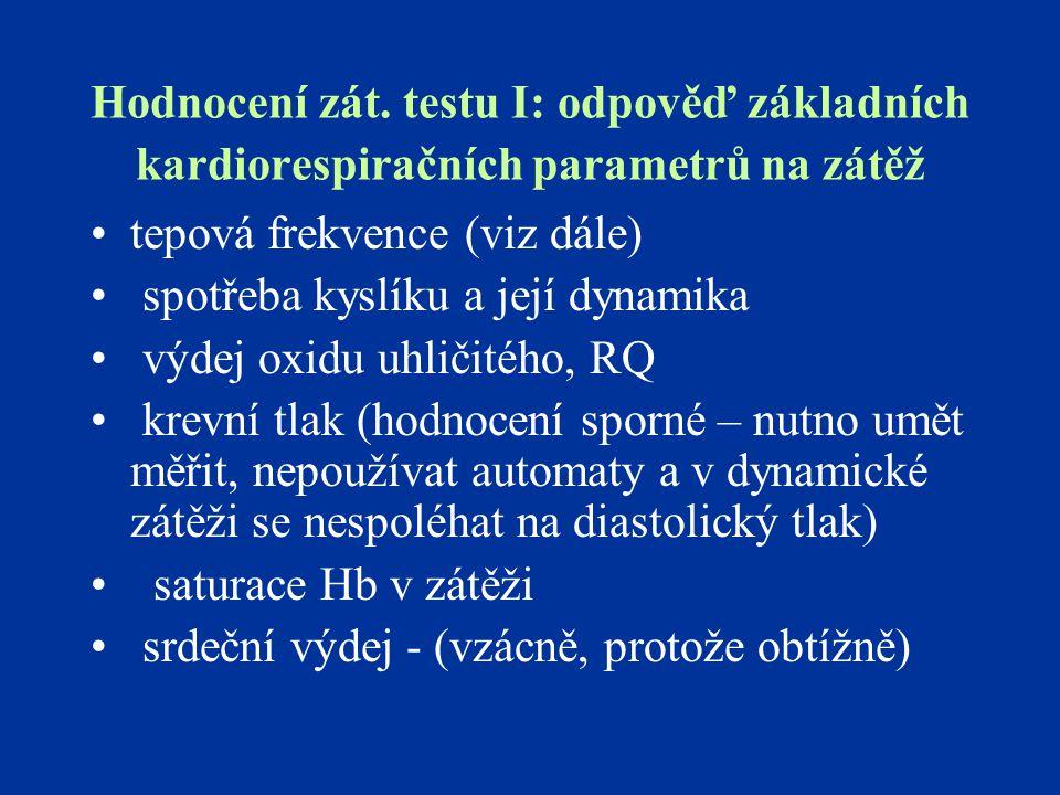 Hodnocení zát. testu I: odpověď základních kardiorespiračních parametrů na zátěž