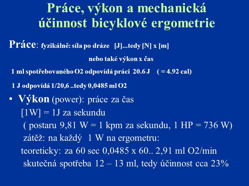 Práce, výkon a mechanická účinnost bicyklové ergometrie