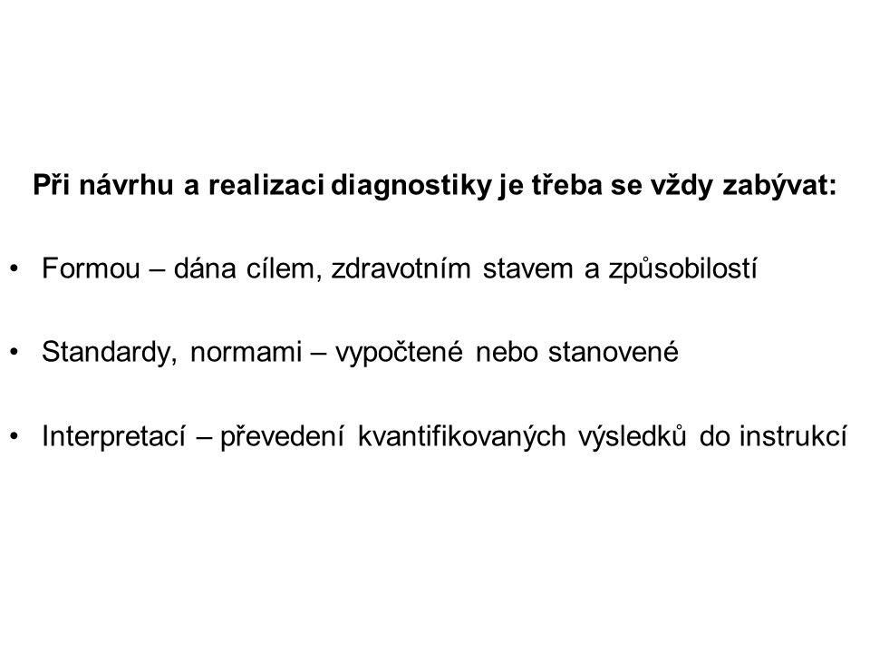 Při návrhu a realizaci diagnostiky je třeba se vždy zabývat: