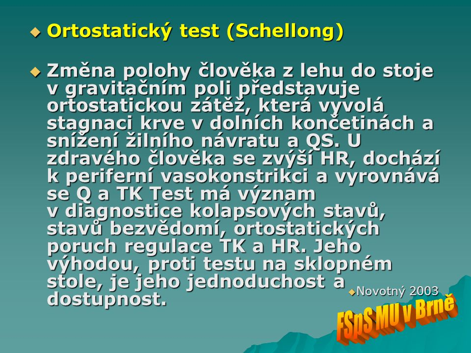 Ortostatický test (Schellong)