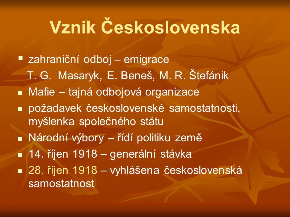 Vznik Československa zahraniční odboj – emigrace