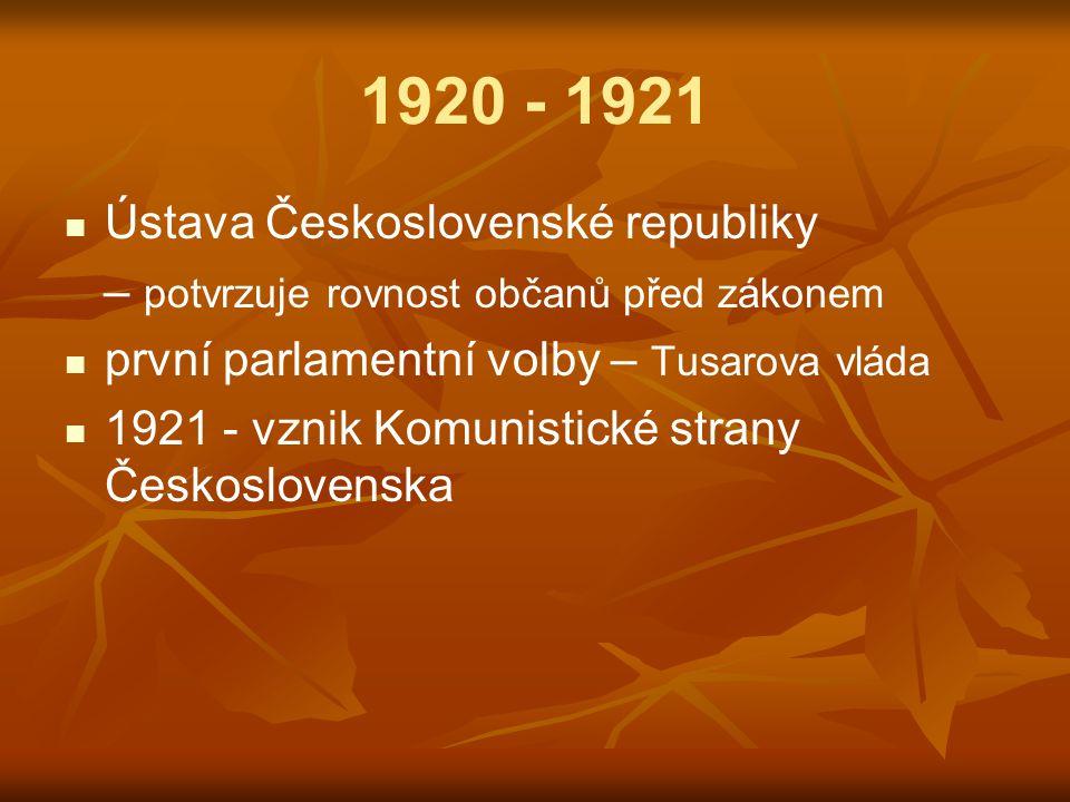 1920 - 1921 Ústava Československé republiky