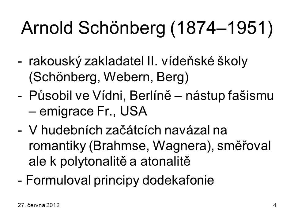 Arnold Schönberg (1874–1951) rakouský zakladatel II. vídeňské školy (Schönberg, Webern, Berg)