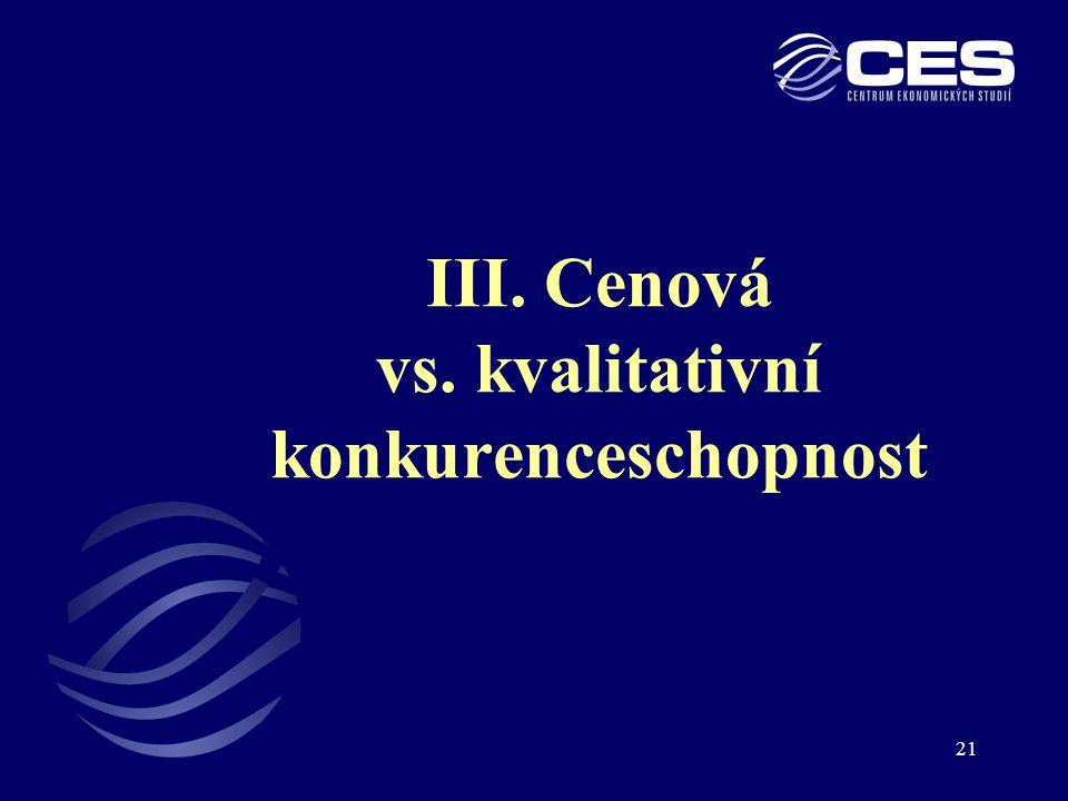 III. Cenová vs. kvalitativní konkurenceschopnost