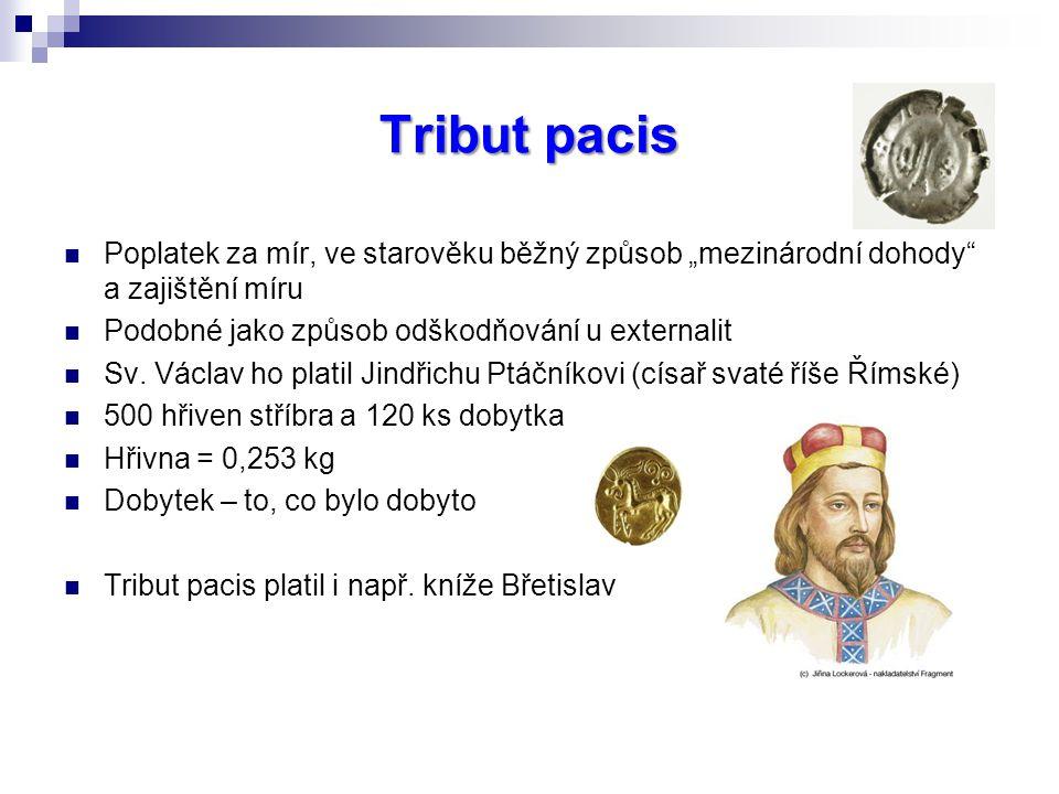 """Tribut pacis Poplatek za mír, ve starověku běžný způsob """"mezinárodní dohody a zajištění míru. Podobné jako způsob odškodňování u externalit."""